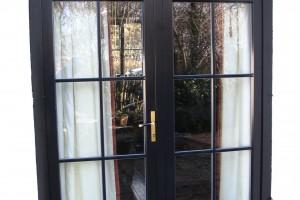 Aluclad timber French door with top lite