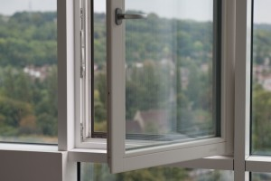 Aluminium curtain wall with integrated timber window