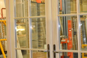 Clear faced pine French doors after quality control