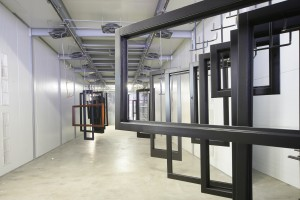 Grey wood windows in drying chamber
