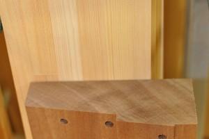 Sapele hardwood cill after CNC profiling