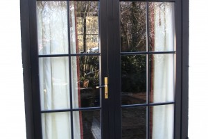 Aluclad timber French door with top lite