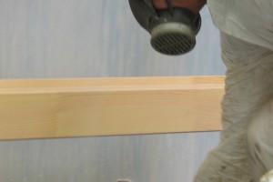 Timber window spray painting
